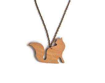 Wood cat necklace, long tail cat pendant, cat pendant, wood cat pendant, wood jewelry, cat necklace, long tail cat, cat lover gift, cat