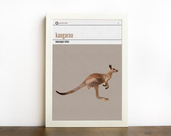 Kangaroo Print, Kangaroo Art, Australia Animal, Australia Nursery, Nursery Animals, Geometric Kangaroo Wall Art, Abstract Kangaroo Print