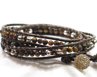 """Leather Wrap Bracelet - Brown Tiger Eye and Silver 7"""" 3 Layers Made in Colorado"""