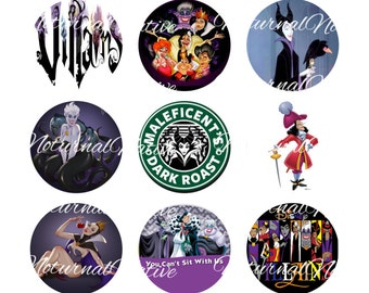 INSTANT DOWNLOAD !!! -  Disney Villains - Digital Collage 1 inch Bottlecap Images - Buy 1 Get 1 Free !!!