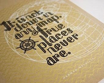 Herman Melville Quote Screenprint, 5x7