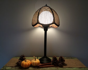 Vintage Table Lamp with Glass Globe and Cane Wicker Shade