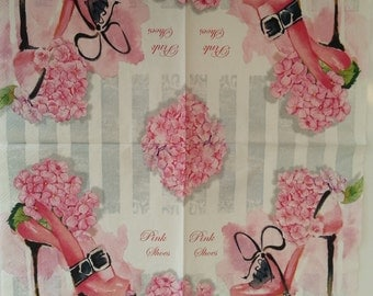 Decoupage PINK Shoes napkins,Paper napkins for decoupage,vintage napkin,scrapbooking & paper craft projects, mixed media