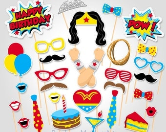 Superhero Birthday Photo Booth Props  - Superhero Wonder Woman Photobooth Prop - Birthday Photo Booth Props - Superhero Party Ideas