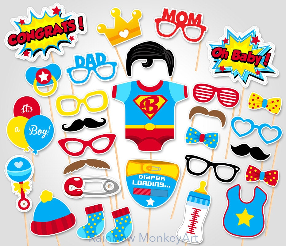 Baby Shower Photo Booth Props Superhero Superman Photo