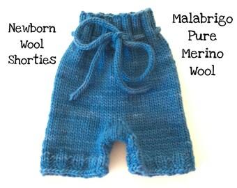 Wool Shorties Hand Knit Newborn Malabrigo Wool Soaker Cloth Diaper Cover