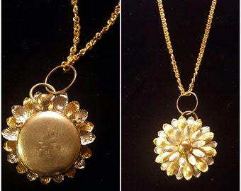 Vintage Flower and pocket watch pendant assemblage  necklace