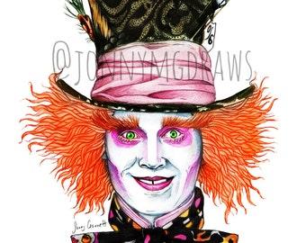 Alice in Wonderland Mad Hatter A5 Print