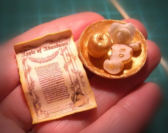 Miniature - APPLES of the ABUNDANCE, SCROLL with magical spell and Golden Plate - Magician , Witches , Wizards - Scale 1:12