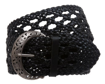 """2 1/2"""" Wide Perforated Braided Woven Leather Belt"""