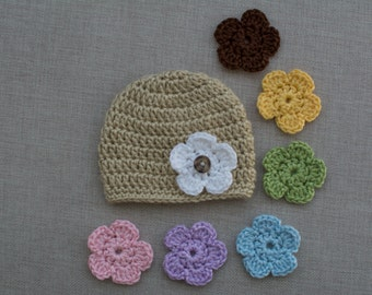 Mix and Match Crochet Flower Hat