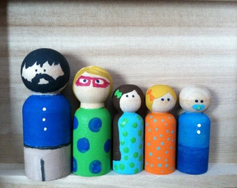 Peg doll family personalized and custom made