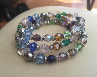 Multicolor Memory Wire Wrap Bracelet