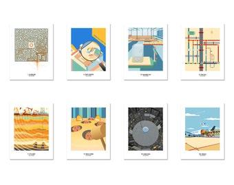 Pregnancy Postcard - Full Series of Journey of Pregnancy ( A Cartoonish Way of Pregnancy Announcement ) - Set of 2