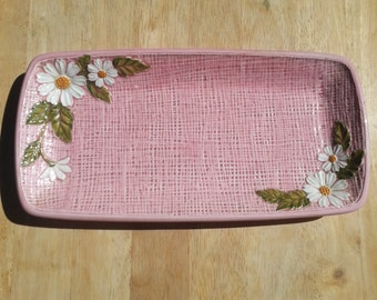 1970s Pink Vanity Tray with White Daisies, Vintage I.W.Rice and Co, Jewelry Tray, Made in Japan