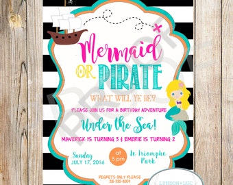 Pirates & Mermaids Birthday Party Invite