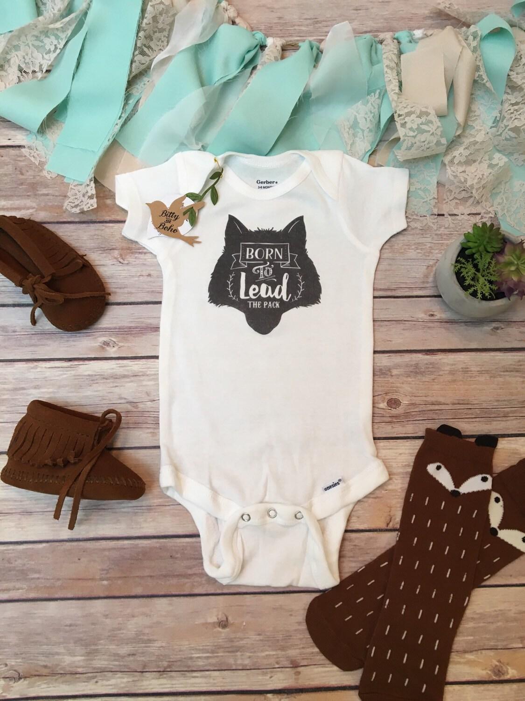 Wolf esie Baby Boy Clothes Baby Shower Gift by BittyandBoho