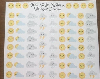 Weather Stickers Kawaii Faces ECLP Mambi Inkwell Press Filofax Kikki K Happy Life Planner sun rain clouds storms cloudy emoji kawaii