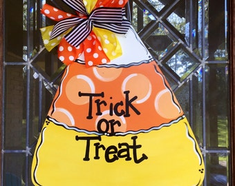 Candy corn door hanger Halloween door hanger Halloween wreath Fall door hanger