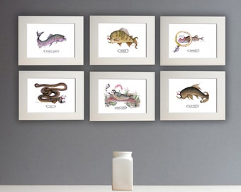 Silly Fish Prints - a set of 6 unframed A4 prints