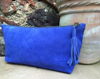 Cobalt Blue Suede Clutch Bag
