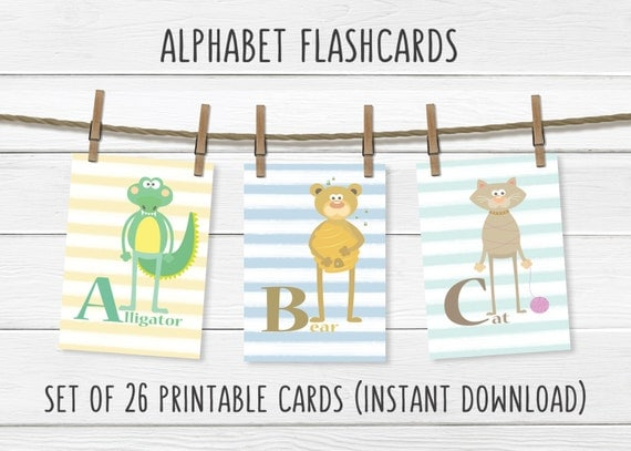 PRINTABLES- Whimsical Alphabet Animal Card Set- ABC Flashcards