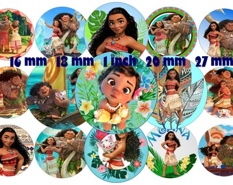 Moana Inspired Bottle Cap Images 1 INCH Round Images Moana party 1 inch Moana image Printable Moana round images Moana party Moana Download