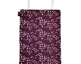 Ready to ship - Large wet bag with two straps with snaps, PUL lined, great for laundry - birds print