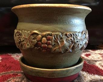 Green Terra Cotta handpainted Planter Pot