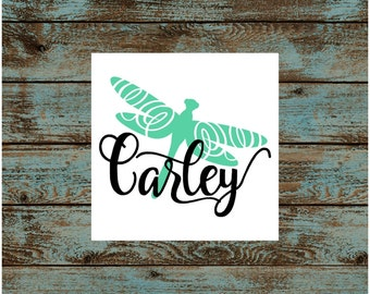 Dragonfly with Swirly Script Name Vinyl Decal | Yeti Corkcicle Rtic Frio | Car Decal