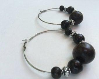 Free shipping,Handmade African wood beaded earrings