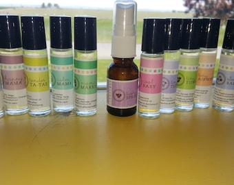Baby Shower Gift, Rollerball Babies & Mamas Set of 10 Rollerbottles with Spray, Essential Oils