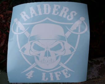Oakland Raiders 4 Life NFL Custom Die Cut Vinyl Decal Sticker