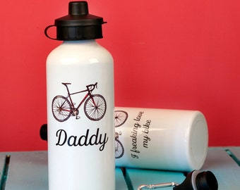 Personalised Cyclist's Sports Water Bottle - cyclist - gift for Dad - Gift for bike lover - bicycle - sports- cycling gift