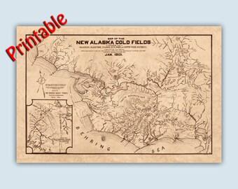DIGITAL DOWNLOAD, Alaska Gold Fields Map Reproduction, Alaska Art, Alaska Decor, Alaska Poster, Digital File You Print, 20x30 inches