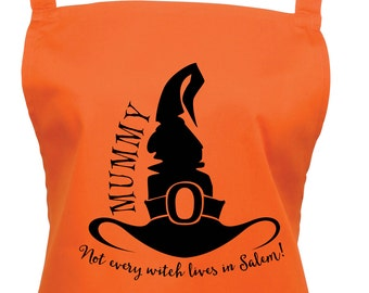 Personalised Witches Hat Apron with a Cute Spider on the Pocket- 16 Colours - Halloween Party Apron, Custom Apron, Baking Apron - 1021