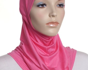 Candy Pink Full Underscarf / Head Scarf / Ready to Wear Ladies Covering / Gifts For Her / Head Wrap / Turban / Snood / Bonnet / Chemo Cap
