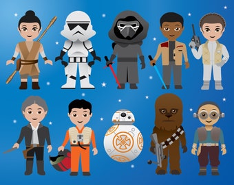 NEW Star Wars digital Clip Art, Printable Clipart, Star Wars Party, Labels, Superhero Clipart, The Force Awakens - 0177