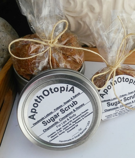 Organic Sugar Scrub - Chamomile, Cinnamon & Honey - Exfoliating Body Polish, Face Scrub, Foot Scrub, Sustainable, Eco Friendly