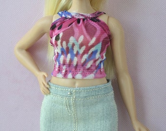 Handmade outfit-top and jeans skirt for Barbie Fashionistas Curvy dolls