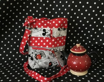 Mickey Mouse Comic Strip Cross Body Bag, Red Black and grey cross body mickey tote