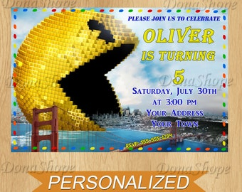 Pixels invitation, Pixels Birthday Invite, PERSONALIZED, Digital File