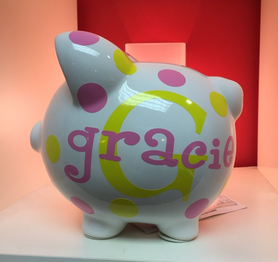 Items similar to children 39 s personalized ceramic piggy bank piggy bank vinyl piggy bank kid 39 s - Ceramic piggy banks for boys ...