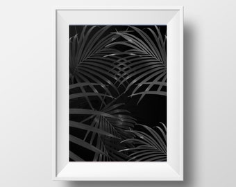 Palm Print, Black and White, Printable Art, Palm Leaf Art, Modern Art, Wall Decor, Wall Art, Digital Download