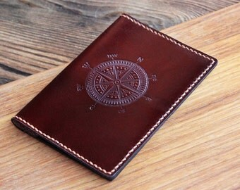 Leather passport cover Graduation gift Personalized passport holdrer Travel wallet Passport wallet Gift for him Husband gift compass