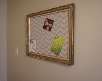 Shabby Chic Magnetic Bulletin Board/Repurposed Picture Frame
