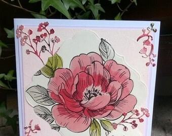 Handmade Floral/Rose Design card
