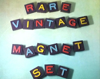 100pc RARE 1930s Magnet Set, Handmade, Letter Magnets, ABC Magnets, Home Decor, Kitchen Decor, Housewarming Gift, Decor, Steampunk, Words