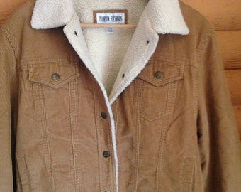 Vintage 80s 90s Sherpa Trucker Jacket Corduroy Medium