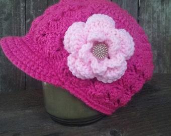 crochet girls newsboy cap